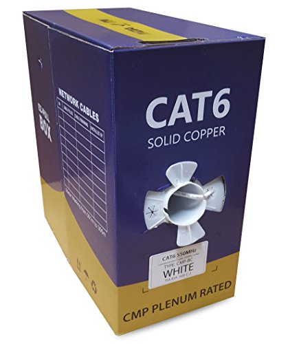 (Cat6 Plenum (CMP), 1000ft, Solid Bare Copper Bulk Ethernet Cable, 550MHz, 23AWG 4 Pair, White, Unshielded Twisted Pair (UTP), EfficientCables)