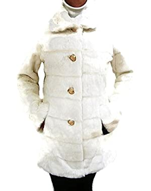 Guess Faux Fur Walker Coat, Jacket, White, Xlarge, MF557