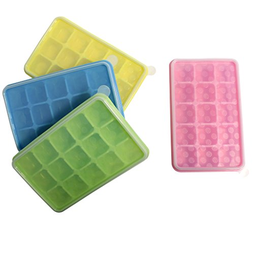 4 Pack Silicone Ice Cube Trays with Clear Lids by Kurtzy - Covered Ice Cube Tray Set with 60 Ice Cubes Molds - Flexible Rubber BPA Free Plastic Stackable No Spill Ice Cube Mold Storage Containers (Paint Face Like Cat Halloween)