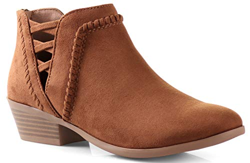Womens SN Western Cut Out Perforated Low Heel Ankle Boots Bootie Cognac 8