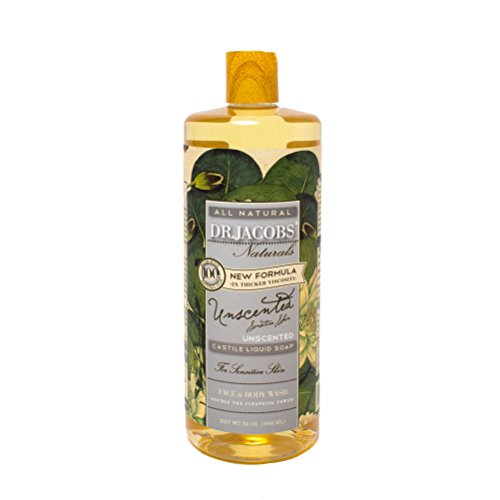 Dr. Jacobs Naturals Pure Castile Liquid Soap - Natural Face and Body Wash, Unscented 32 oz.