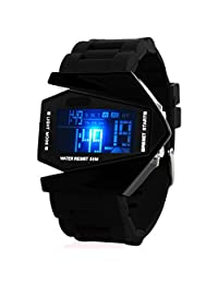 Fashion Unisex Futuristic Air-Planed Shaped Colorful Waterproof LED Digital Sport Casual Wrist Watches