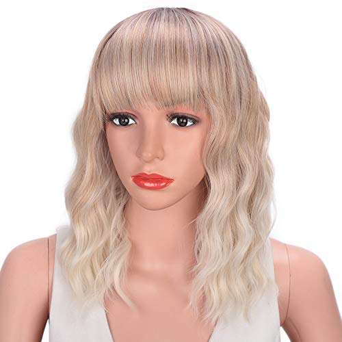 AISI HAIR Wavy Curly Bob Wig with Bangs Brown to Blonde Short Wig 3 Tone Ombre Wig Natural wavy Heat Resistant Synthetic Hair (Brown Blonde White) -