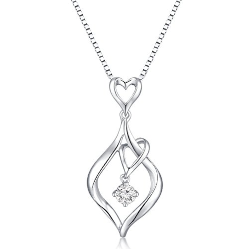 MaBelle 18K White Gold Solitaire Diamond Heart In Drop Pendant w/ 925 Sterling Silver Necklace (0.11 ct) - 0.11 Ct Diamond Pendant