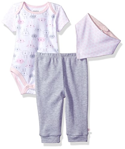 Absorba 2 Piece (absorba Baby Girls' 2 Pieces Bodysuit Pant Set With Bib, White/Grey, 0-3 Months)