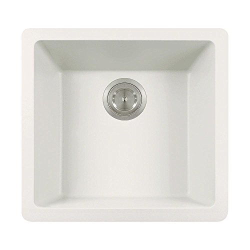 (805 Dual-mount Single Bowl Quartz Kitchen Sink, White, No Additional Accessories)