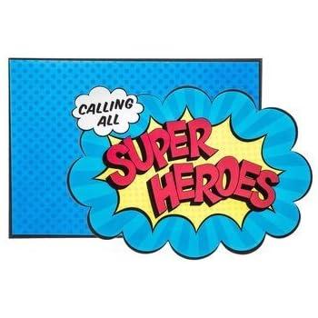 amazon com superhero kids birthday party invitations 12 count with