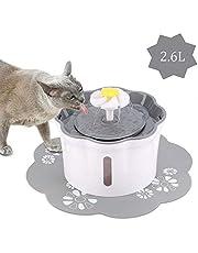 KOOPAO Dispenser per Fontana di Acqua per Gatti Pet, filtri per Fontana Automatica per Animali Domestici 2.6L Ultra Silenzioso e igienico per Cani Cani 1 Filtro 1 Tappetino in Silicone