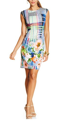 Madison Leigh Womens/Misses Multicolor Geo Mod Mixed Print Scuba Dress (12) (Madison Light Twelve)