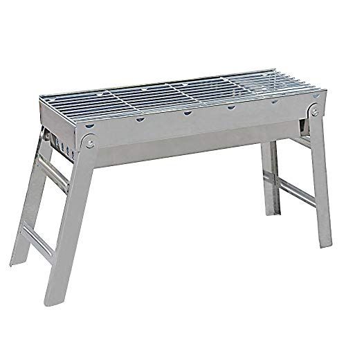 Portable Charcoal BBQ Grill – Stainless Steel Outdoor Hibachi Grill for Backyard Camping Travel Barbecue