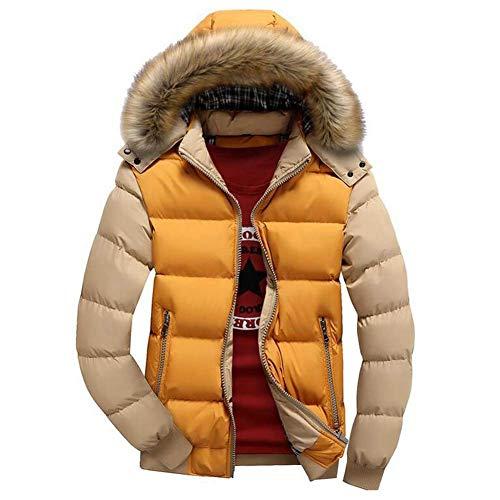 Adelina Winter Warm Thick Hooded Zipper Jacket Down Manly Coat Long Slim Fit Sleeve Rv Side Pockets Down Coat Coats Gelb/Khaki