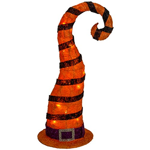 One Holiday Way Large Orange LED Lighted Witch Hat Sisal Halloween Yard Stake Outdoor Decoration ()