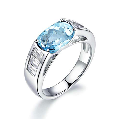 EoCot Custom Size Silver Plated Ring for Women Rectangular Blue Topaz White Gold Rectangle Eternity Ring Wedding Band Size 5.5
