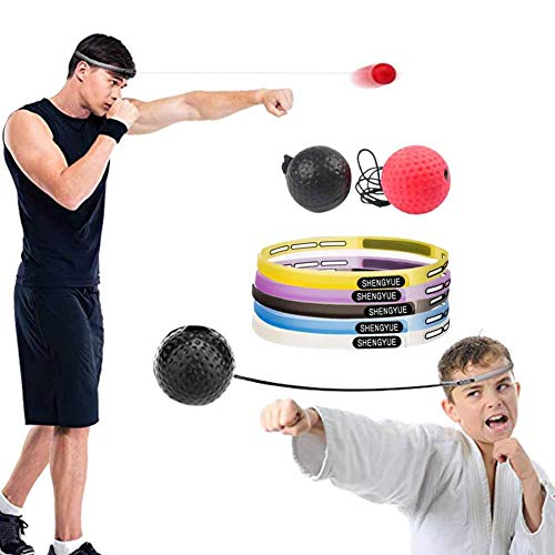 Ya-tube Boxing Reflex Ball, 2 Difficulty Level Boxing Ball with Headband Secret Santa Gift,Perfect for Agility, Punching Speed, Fight Skill and Hand Eye Coordination Training ()