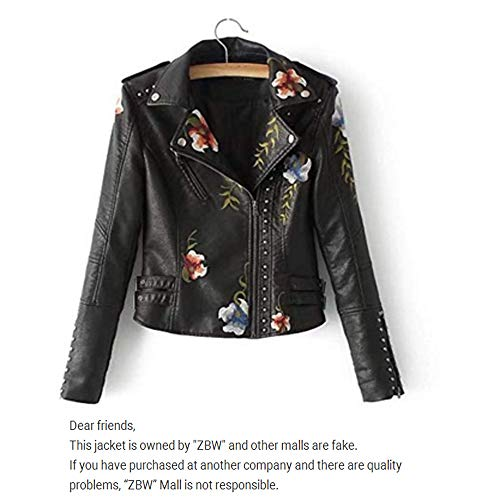 ZBW Women's Floral Embroidered Faux Leather Moto Jacket (Black, XL) ()