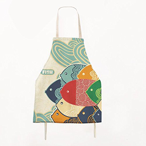 Fish Aprons for Kids,Lovely Cartoon Pattern Apron,Burlap Cotton Chef Kitchen Cooking Apron Bib,Children Apron