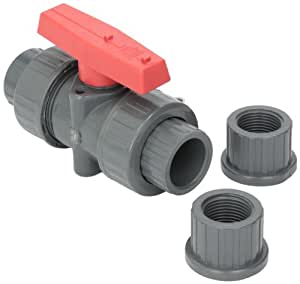 Hayward TBB1007CPEG 3/4-Inch Gray PVC TBB Series True Union Ball Valve with EPDM O-rings and Socket/Threaded End Connection
