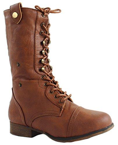Tan Women's Ankle Boots Smart Moda Leather up Faux 1 Lace Folding Top A1UPwSqOnx