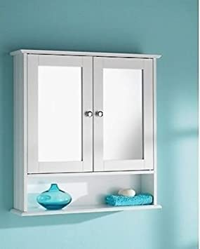 New England White Wood Double Mirrored Bathroom Wall Cabinet ...