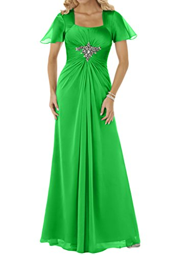 Ivydressing Damen Beliebt Kurz Aermel Chiffon Lang Festkleid Promkleid Partykleid Abendkleid-42-Jaegergruen