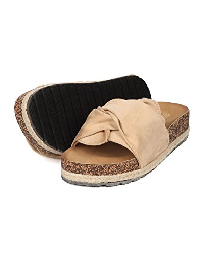 Alrisco Espadrille Espadrille Voetbed Glijbaan - Geknoopte Open Teen Slip Op Sandaal - Comfortabele Casual Slipper - Hb84 Van Nature Breeze Beige Faux Suede