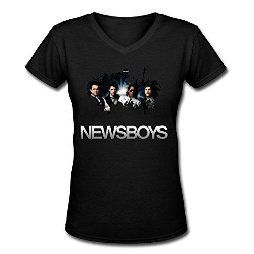 KIM Newsboys 2016 Tour Poster Black V-Neck T-shirts For Women Large