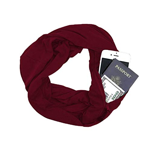 (Scarf with Hidden Pocket, Minggo Unisex Wrap Shawl Infinity Scarves Loop Solid Blanket with Hidden Zipper Pocket for Autumn Winter (Red))