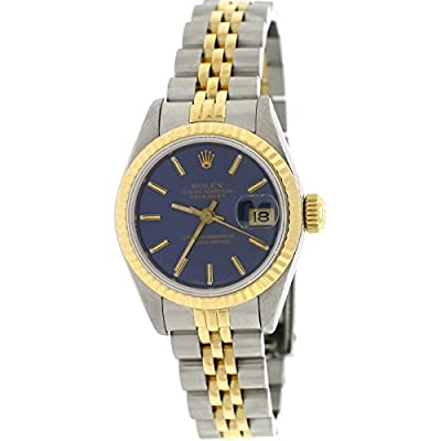 Rolex Datejust Ladies 2-Tone 18K Yellow Gold/Stainless Steel Original Blue Stick Dial 26MM Jubilee Watch 69173 (Certified Pre-owned) from Rolex