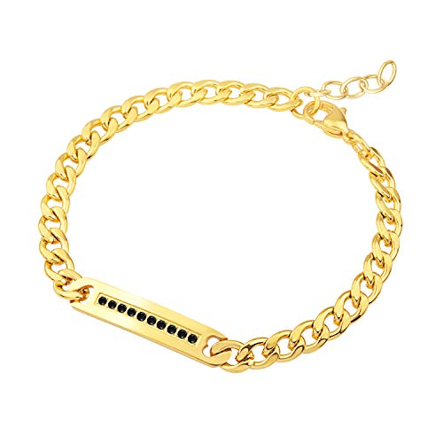 555Jewelry Womens Stainless Steel Hypoallergenic Cuban Chain Link Center Plate Bar Charm Unisex Cubic Zirconia Studded Fashion Jewelry Accessory Bangle Bracelet, Yellow Gold & Black - Plate Studded