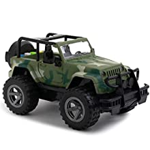 Toy To Enjoy Army Truck Toy with Flashing Light & Sound Effects - Friction Powered Wheels & Openable Doors - Heavy Duty Plastic Military Vehicle Toy for Kids & Children
