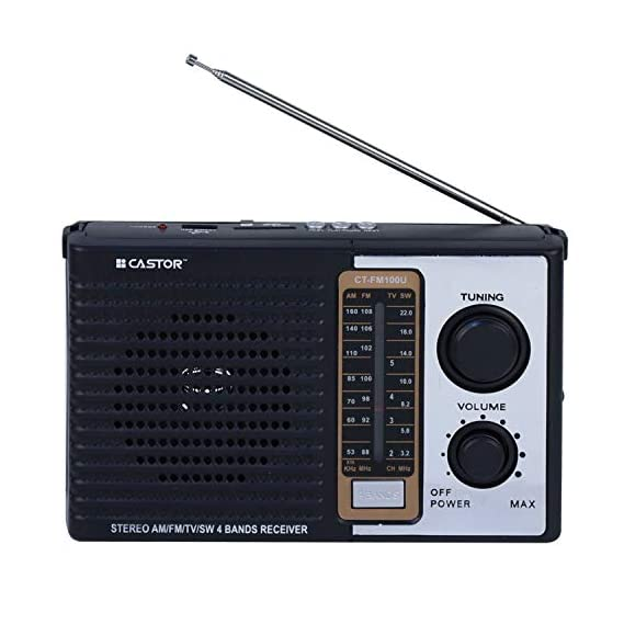 iBELL CTFM100U Portable FM Radio, USBSDMP3 Player & Dynamic Speaker 4 Band,Black