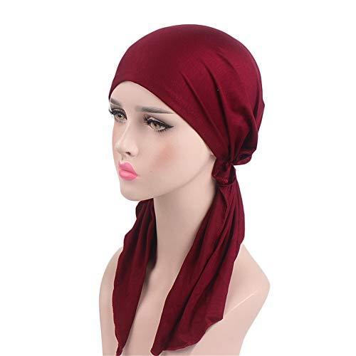 Women Head Scarf Soft Lycra Modal Cotton Turbans Chemo Caps Tied Bandana Head Wrap (Cotton Long Beanie)
