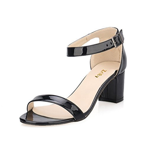 Women Ankle Pointed Toe Sandals High Heels Shoes (Black) - 9