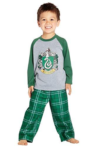 - HARRY POTTER Boys' Raglan Shirt and Plaid Pajama Pants Set- All 4 Houses (5T, Slytherin Green)