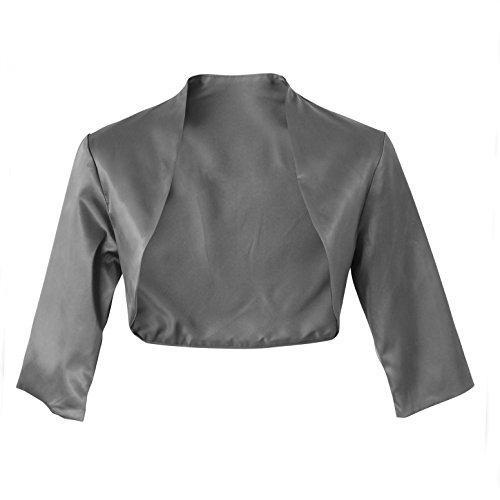 Faship Satin 3/4 Sleeve Bolero Shrug Cardigan Top Gray