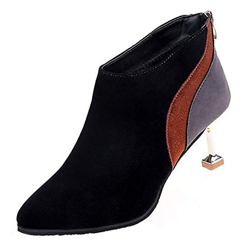 Black US6.5-7   EU37   UK4.5-5   CN37 Black US6.5-7   EU37   UK4.5-5   CN37 Women's Bootie Suede Fall Casual Boots Translucent Heel Booties Ankle Boots Black Almond   color Block
