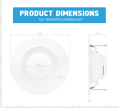 Parmida (12 Pack) 5/6 inch Dimmable LED Retrofit Recessed Downlight, 15W (120W Replacement), Baffle Metal Design, 1000lm, 4000K (Cool White), Energy Star & ETL, LED Ceiling Can Light, LED Trim by Parmida LED Technologies (Image #3)