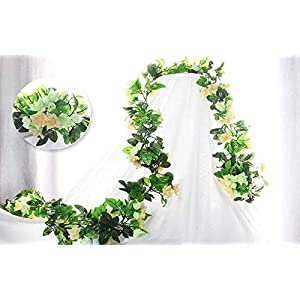 Flower Garland Artificial Fake Flowers Rose Vine Flowers Plants Artificial Flower Hanging Rose Leaf Vine for Home Hotel Office Wedding Party Garden Craft Art Décor Pack of 3 118