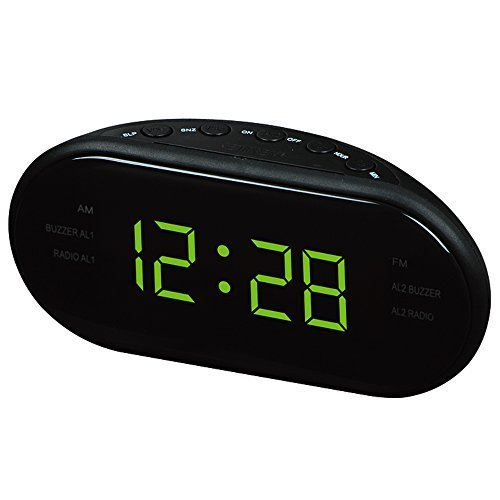 HITO AM/FM 1.2 inch Green LED Clock Radio Military Time Only w/ Dual Alarm, Adapter included (Digital Clock Small Plug)