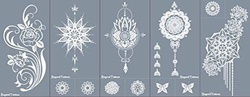 Reusable Tattoo - Reusable Micronet Mesh Stencil Tattoo Stencils Templates 5 Sheet Set Rose