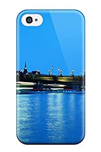 4/4s Scratch-proof Protection Case Cover For Iphone/ Hot Paris In The Evening Eiffel Tower Side Bridge Street Lights Nature Other Phone Case