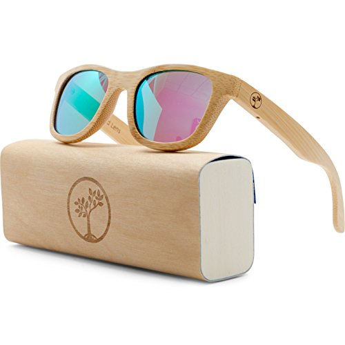 Vintage Polarized Wooden Bamboo Frame Sunglasses by Tree People, Colorful UV Protection Lenses - Unisex Folding & Floating Wayfarer Style Glasses for Men | Women | Boys | Girls - Bonus Microfiber Box Bamboo Designer Shade