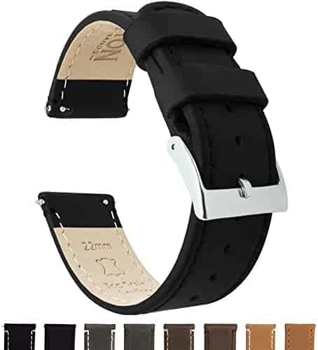 BARTON Quick Release Top Grain Leather Watch Band Strap - Choose Color & Width (18mm, 20mm or 22mm) - Black 22mm