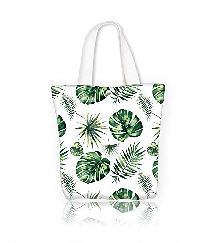 Canvas Zipper Tote Bag bright beautiful green herbal tropical wonderful hawaii floral summer of a tropic palms Reusable Canvas Zipper Tote Bag Printed 100% Cotton W11xH11xD3 INCH ()