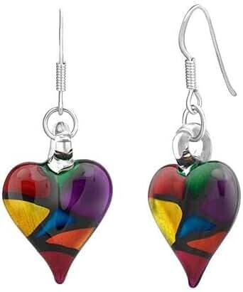 925 Sterling Silver Hand Blown Venetian Murano Glass Multi Color Heart Shaped Dangle Earrings