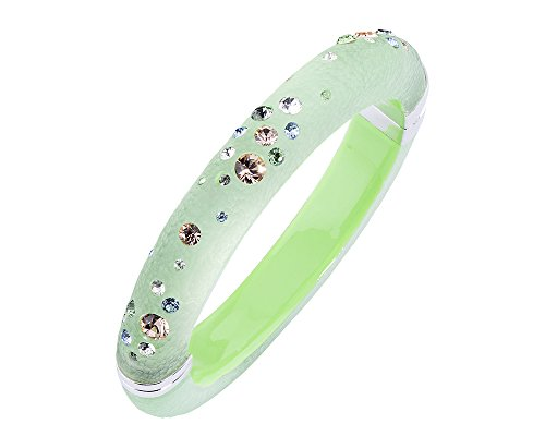 Gold & Honey 1995 Handcrafted Green Lucite Hinged Bangle with Colorful Confetti Crystals
