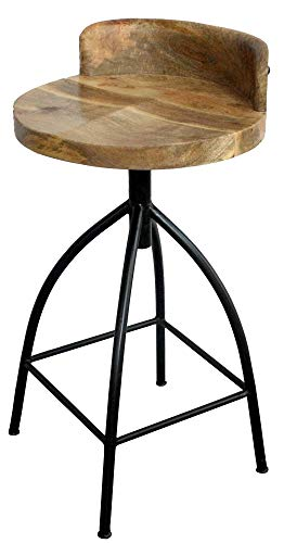 The Urban Port UPT-165867 Industrial Style Adjustable Swivel Counter Height Stool with Backrest, Black/Walnut -