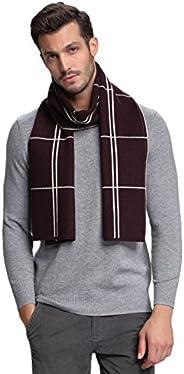 RIONA Men's Australian Merino Wool Plaid Knitted Scarf - Soft Warm Gentleman Neckwear with Gift