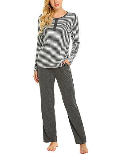 Ekouaer Womens Pajama Set Striped Long Sleeve Sleepwear Soft PJ's Set with Pants