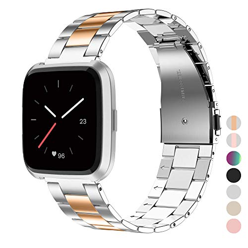 Wearlizer Stainless Steel Band Compatible for Fitbit Versa/Fitbit Versa Lite Bands Women Men,Ultra-Thin Lightweight Replacement Band Strap Bracelet Compatible for Fitbit Versa (Copper+Silver1)